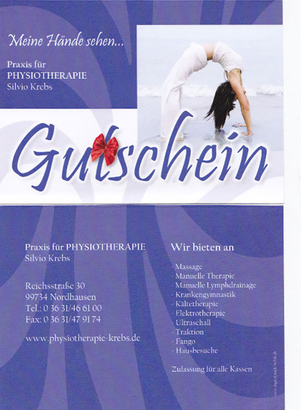 Gutschein Physiotherapie